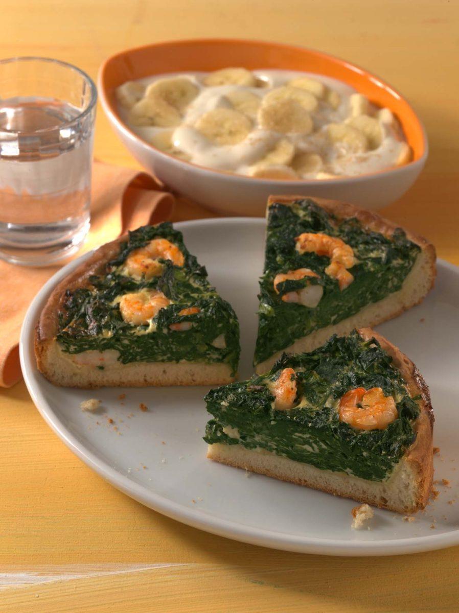 Spinatquiche mit Garnelen - BCM Diät Rezepte.ch