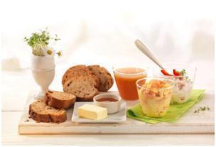 Osterbrunch mit Paprika-Quark Aufstrich und Krabben-Rührei - BCM Diät Rezepte.ch