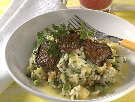 Zucchini-Kräuterrisotto mit Austernpilzen - BCM Diät Rezepte.ch