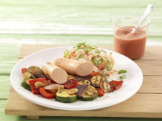 Gegrilltes Gemüse mit Tofuwürstchen - BCM Diät Rezepte.ch