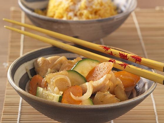 Hähnchenbrust mit gebratener Ananas und Kokos-Curryreis - BCM Diät Rezepte.ch