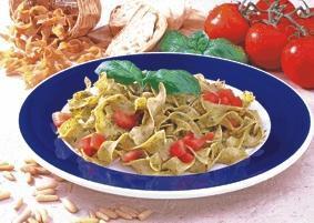 Bandnudeln mit Pesto und Tomaten - BCM Diät Rezepte.ch