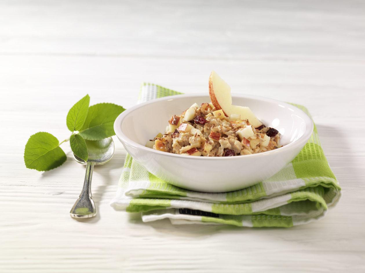 Hafer-Porridge mit Apfelstücken, Cranberries und Leinsamen - BCM Diät Rezepte.ch