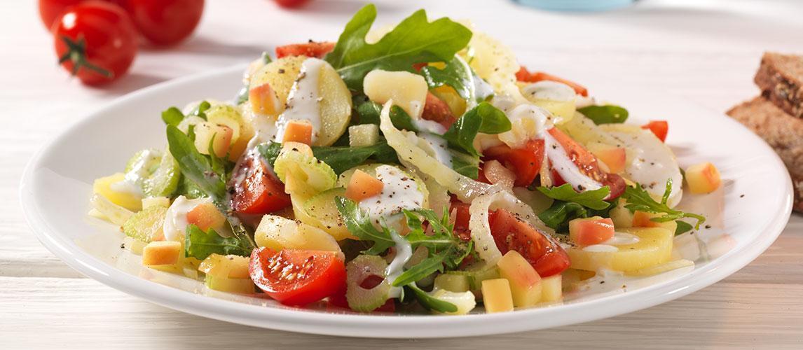 Fenchel-Kartoffel-Salat mit Kirschtomaten und Gorgonzoladressing - BCM Diät Rezepte.ch